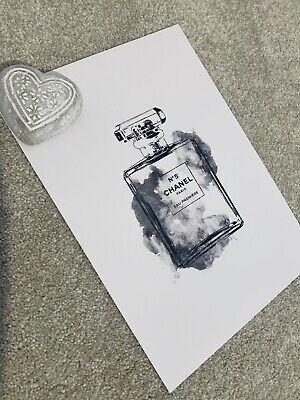 A4 Coco Chanel Perfume Bottle Print High Quality Unframed