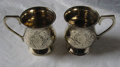 Pair of Vintage Electroplated Nickel Silver Cups, 1970's