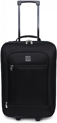 Carry On Luggage Suitcase 18 Cabin Bag Small Lightweight Rolling Baggage Black