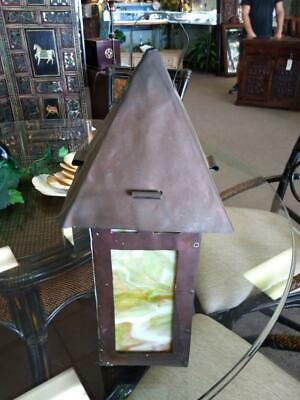 Antique Old Stained Mission Era Arts & Crafts Lantern Lamp Candle Light Sconce