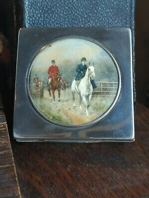 English Riding Scene Female on Horse Painted Silverplate Cigarette Trinket Box