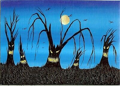 ACEO ORIGINAL Spooky Forest Animated Fun Whimsical Trees Ravens Painting HYMES