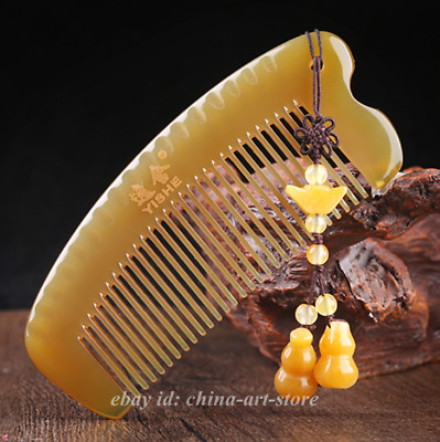 Chinese Natural Oxen Yak Horn Hand-carved Anti-Static Pretty Hair Massage Comb