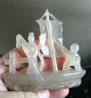Old Chinese China Hand Carved Jade Stone Boat Ship People Statue Asian Oriental