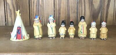 Rare Antique Bisque Miniature Native American Doll 8 PC Family Made In Germany