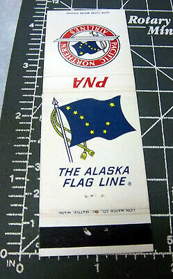 vintage PNA Pacific Northern Airlines matchbook cover (no matches), Alaska flag