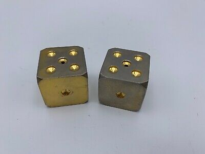 """Vintage Pair of Large Heavy Solid Brass 1.2"""" Inch Gaming Dice Golden Gambling"""