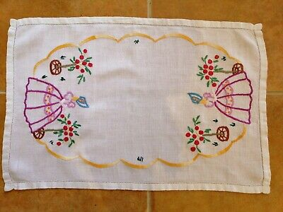 Vintage Linen Hand Embroidered Lady In Crinoline TRAYCLOTH