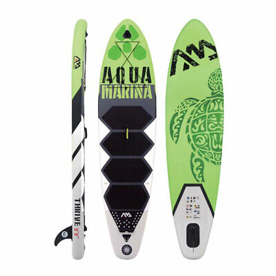 Aqua Marina Inflatable Thrive 117 Inch Stand Up Paddleboard Set w/ Pump, Green