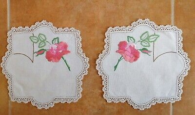 Pair VINTAGE Linen Hand EMBROIDERED Rose Doilies