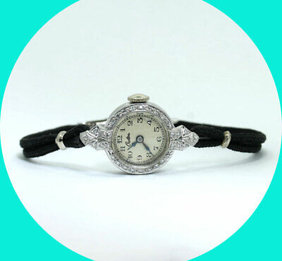 Platinum antique Croton VS diamond ladies watch black cord .20CT 16.5 MM 5.9 GM
