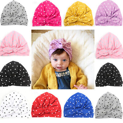 Baby Girl Turban Knot Head Wrap Cute Kids Rabbit Ear Hat Bunny Ear Cotton Caps