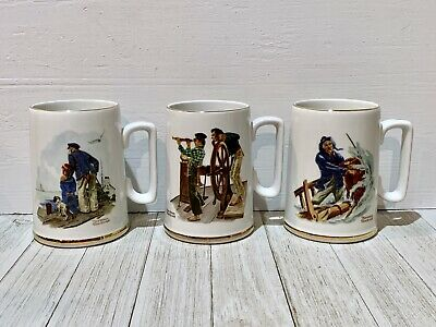 Norman Rockwell Coffee Mugs Tea Cups 3 River Pilot The Storm Looking Out to Sea