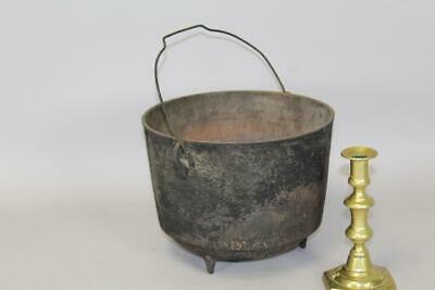 Rare Late 18Th C Cast Iron Hanging Tall Footed Pot In Old Painted Surface