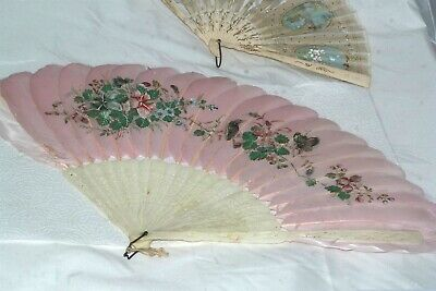 Antique Victorian Painted Feather Bovine Bone Fan Floral Bird Butterfly