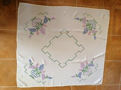 Hand Embroidered Small Tablecloth, Linen With Lilac Flowers