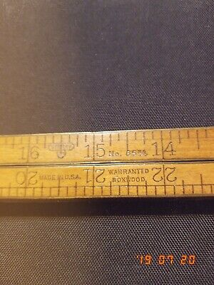 Antique Stanley Folding Yard Stick With Copper Hinges