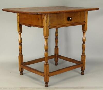 Rare 18Th C William And Mary Stretcher Base Tavern Table In Nice Old Surface