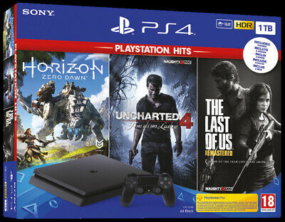 PlayStation 4 Sony Console 1TB Horizon Zero Dawn + The Last of Us + Uncharted 4