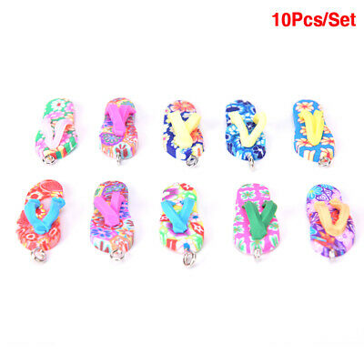 10pcs Polymer Clay Flip Flop Charms Pendant DIY Bracelet Handmade Jewelry`Making