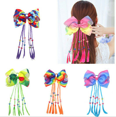 Rainbow Big Hair Bows Elastic HairBands Pigtail Holders for Girl Toddler 8 inch