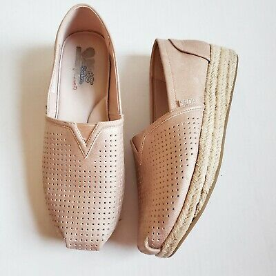 Skechers BOBS 'City Glam' Rose Gold Womens Slip On Wedge Shoes Sz 10