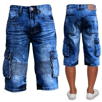 Mens New Cargo Biker Walk Shorts Blue Washed Quality Denim Jeans Sizes 28-38