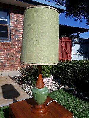 Mid Century Retro 60s Green Ceramic And Teak Table Lamp