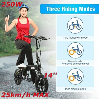 14'' 250W DOHIKER Bicicleta Eléctrica Plegable Moped Bicycle LED 3 Modos Montar