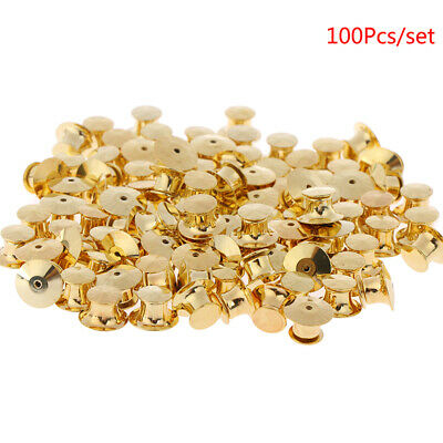 100Pcs/set Gold LOW PROFILE Locking Pin Backs Keepers for all Pin Post Pins HU