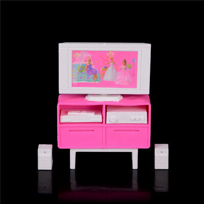 1 Set Plastic Play Tv Stand Cabinet For  Doll'S House Dollhouse FE