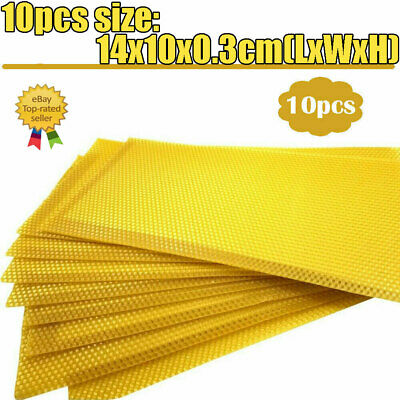 10 Pcs Yellow Honeycomb Foundation Bee Hive Wax Frames Beekeeping Part Sheet Kit
