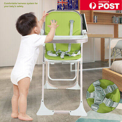 Comfortable Baby Toddler Folding Safe High Chair with Harness Removable Tray AU