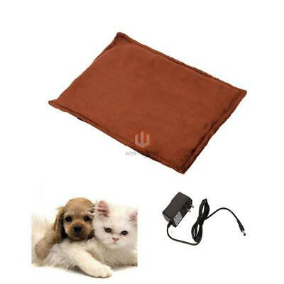 Dog Cat Reptile Pet Heated Bed Pad for Cold Warm Safe 110V~240V PPV-D15 Brown