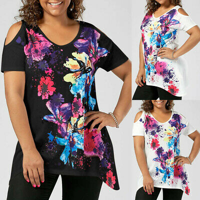Fashion Womens Plus Size Short Sleeve Cold Shoulder Floral Print T-shirt Tops