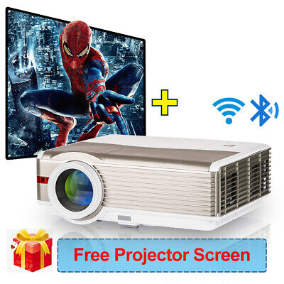 """8000lm Android HD Projector Bluetooth LED HDMI Home Theater USB And 100"""" Screen"""