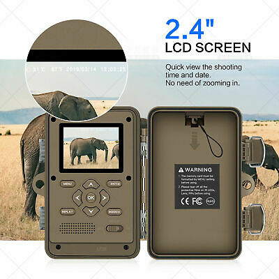 Outdoor 16MP Trail Camera IP66 Waterproof Hunting Cam with No Glow Night Vision