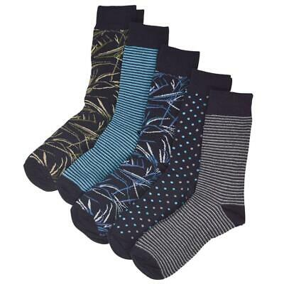 New ex M&S Mens Cotton Rich Socks Cool & Freshfeet 5 Pairs in Mixed Blue