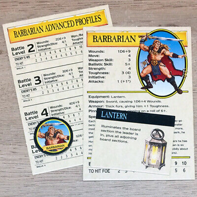 Classic Warhammer Quest Barbarian Cards Equipment & Token Games Workshop 1995