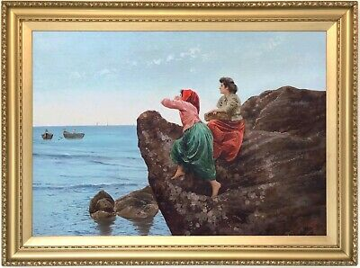 Neapolitan Fisher Women Antique Oil Painting 19th Century Italian School