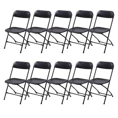 NEW Plastic Lot 10 Commercial Folding Chairs Stackable Picnic Party Black Home
