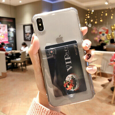 Transparent Wallet Credit Card Holder Case Cover For iPhone X XR XS 8 6 7 Plus