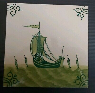 Minton Hollins Hand-painted Delft sailing ships
