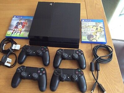 Sony PS4 Playstation 500GB Slim Black Console + 4 controllers + 2 Fifa games