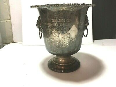 """VTG 10"""" Silver Plate Champagne Ice Bucket AUTO CLUB Trophy ORNATE LION Handles"""