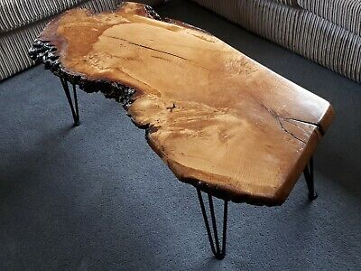 Bespoke Live Edge Solid Burr Oak coffee Table With Hairpin Legs