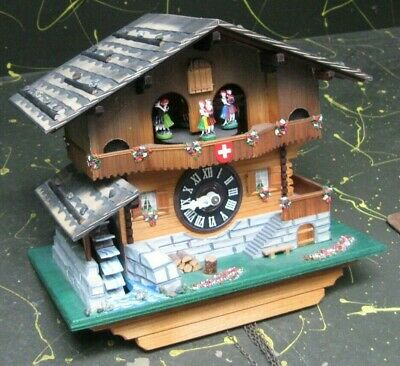 Cuendet Swiss musical movement cuckoo clock w/ dancers and waterwheel, as is