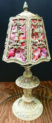 "Antique Victorian Cast Iron Floral w/ Tea Roses Basket Table Lamp 17"" x 6.75"" VG"
