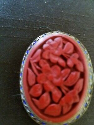 ANTIQUE  Red Jade Carved Amulet Sterling Silver 925 Brooch