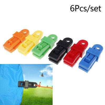 6X Selling Tents Awning Wind Rope Clamp Awnings Outdoor Camping Plastic Clip~GN